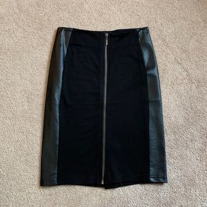 Black leather zip-up pencil skirt